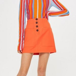 Orange TopShop Pleated Skirt with Pockets